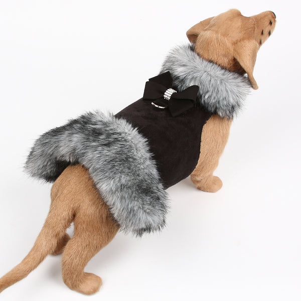 BLACK NOUVEAU BOW SILVER TIPPED FOX DOG COAT, Coats - Bones Bizzness