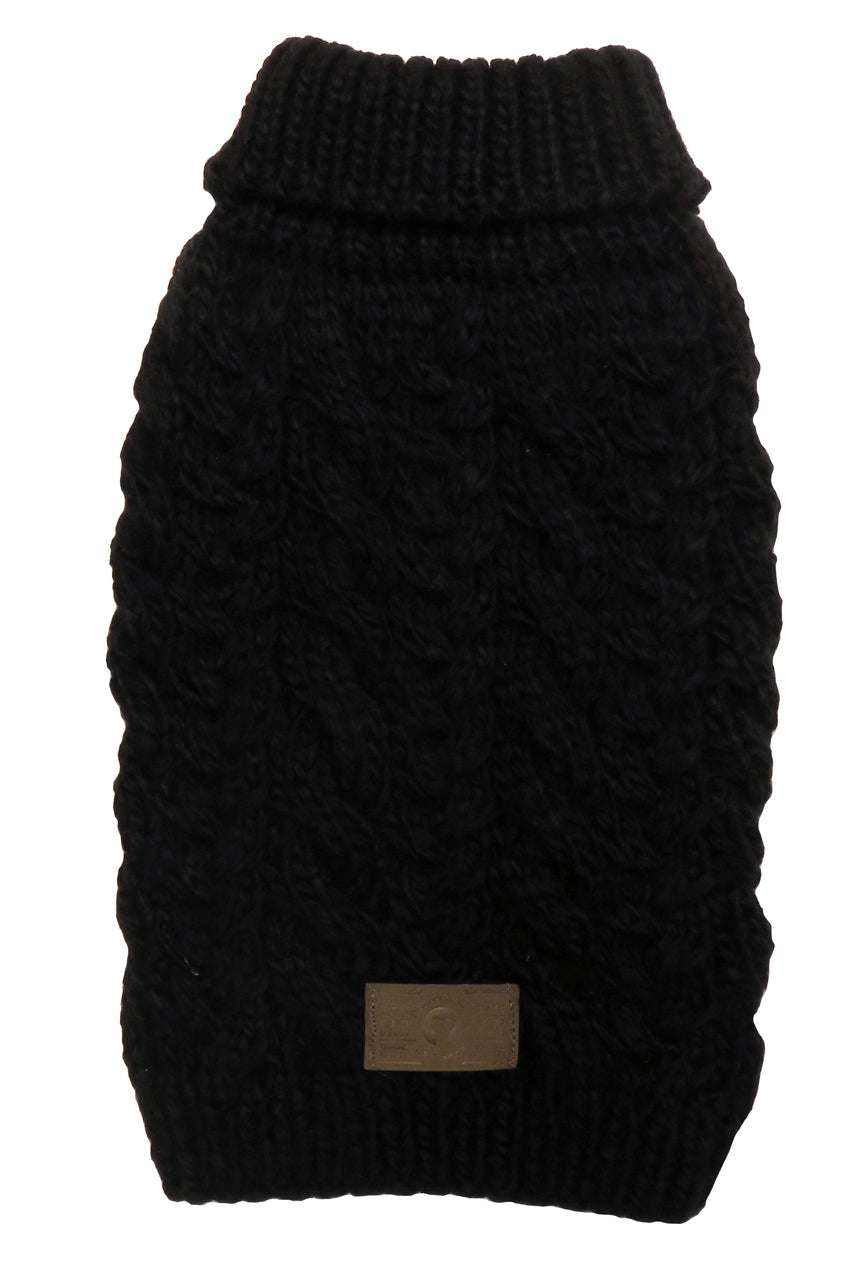 BLACK WOOL TURTLENECK DOG SWEATER