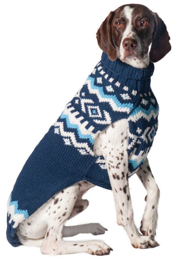NAVY NORDIC WOOL DOG SWEATER
