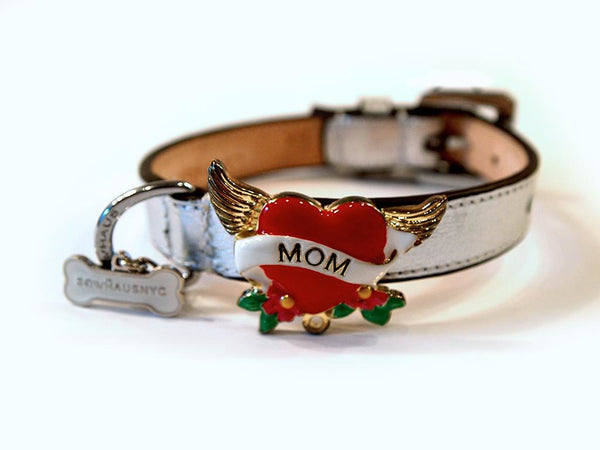 "TATTOO ""MOM"" COLLAR DOG COLLAR - SILVER, Collars - Bones Bizzness"