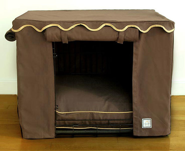 TEAK BROWN DOG CRATE COVER, Crate Cover - Bones Bizzness