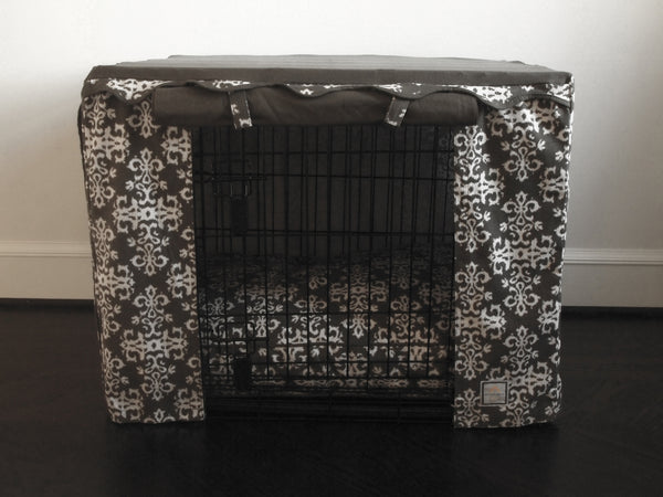 NEW! ELEGANCIA GRAY DOG CRATE COVER, Crate Cover - Bones Bizzness