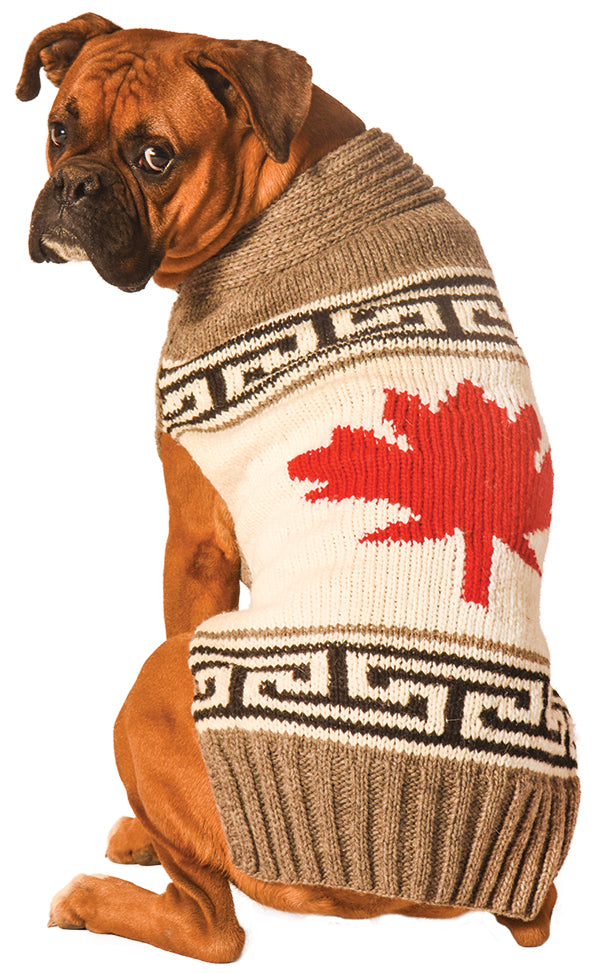 Grey Canadian Maple Leaf Dog Sweater, Sweaters - Bones Bizzness
