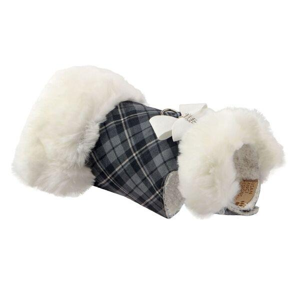 SCOTTY CHARCOAL PLAID WHITE FOX FUR COAT, Coats - Bones Bizzness