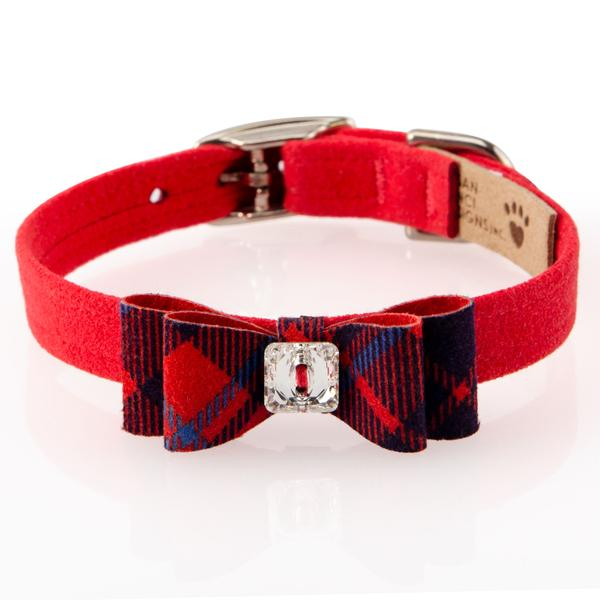 SCOTTY RED CHESTNUT PLAID BIG BOW COLLAR, Collars - Bones Bizzness