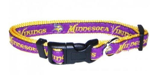 MINNESOTA VIKINGS DOG COLLAR – RIBBON, NFL Leashes - Bones Bizzness