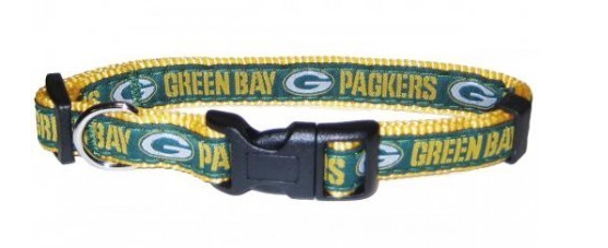 GREEN BAY PACKERS DOG COLLAR – RIBBON, NFL Leashes - Bones Bizzness