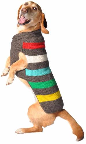 CHARCOAL STRIPE CABLE KNIT DOG SWEATER - Bones Bizzness