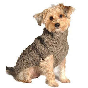 GRAY CABLE KNIT WOOL DOG SWEATER - Bones Bizzness