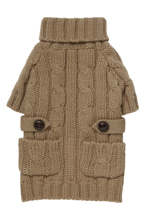 CAMEL POCKET CABLE KNIT DOG SWEATER, Sweaters - Bones Bizzness