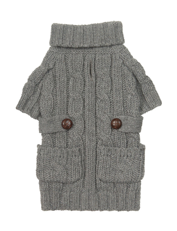 GRAY POCKET CABLE KNIT DOG SWEATER, Sweaters - Bones Bizzness