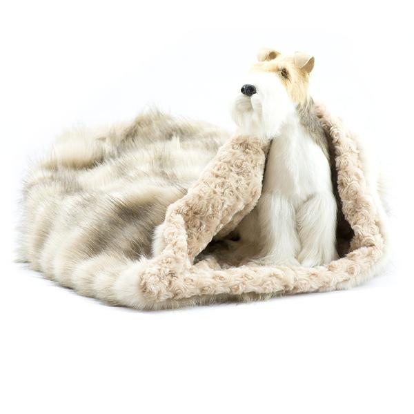 CREAM FOX WITH CAMEL CURLY SUE CUDDLE CUP DOG BED, Beds - Bones Bizzness