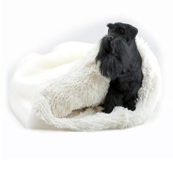 CREAM SMOOTH WITH CREAM SHAG CUDDLE CUP DOG BED, Beds - Bones Bizzness