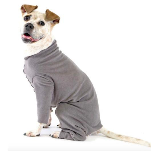 STRETCH FLEECE ONESIE DOG FLEECE - CHARCOAL GREY