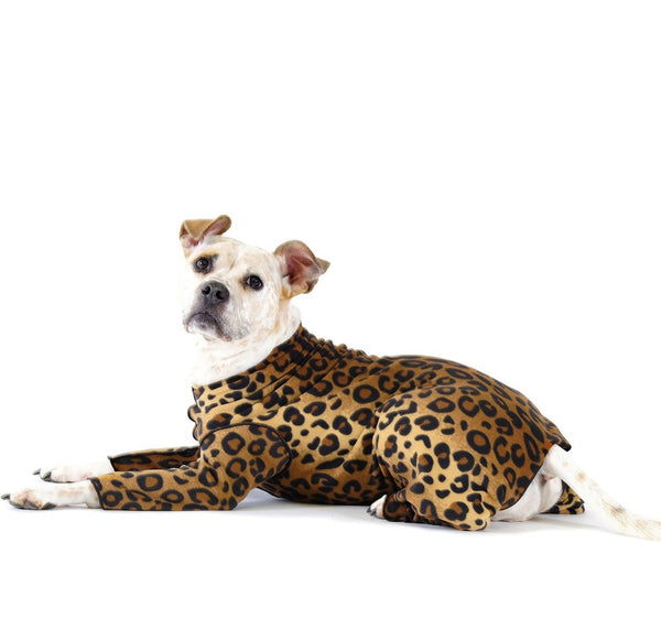 STRETCH FLEECE ONESIE DOG FLEECE - LEOPARD