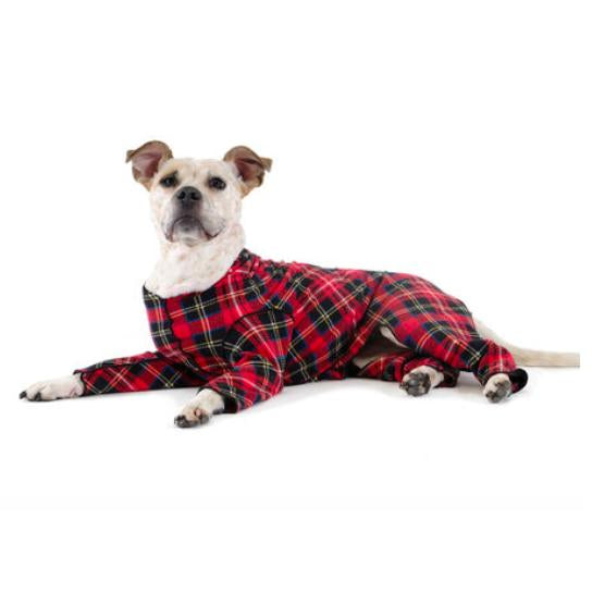 STRETCH FLEECE ONESIE DOG FLEECE - RED TARTAN