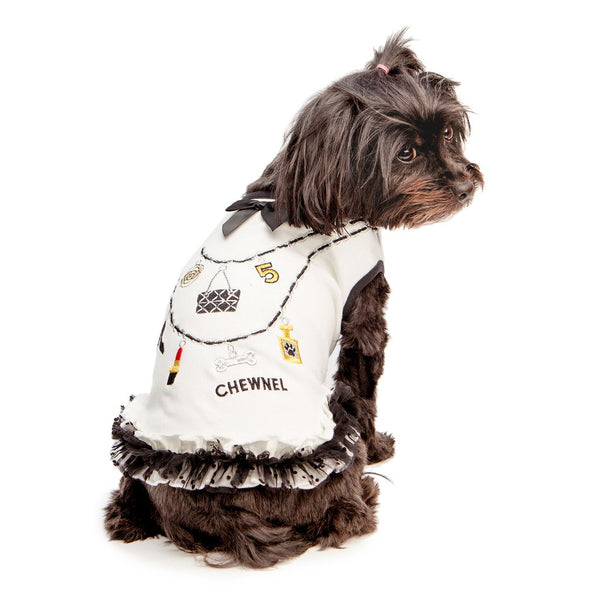 CHEWNEL CHARMS RUFFLE DOG DRESS - WHITE