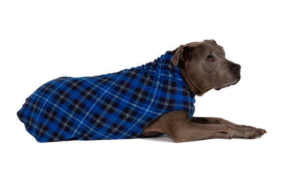 BLUE PLAID GOLD PAW STRETCH DOG FLEECE, Sweaters - Bones Bizzness