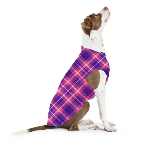 GOLD PAW STRETCH MULBERRY PLAID DOG FLEECE, Sweaters - Bones Bizzness