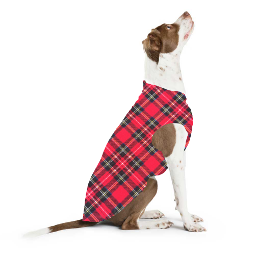 GOLD PAW STRETCH DOG FLEECE RED TARTAN PLAID | Bones Bizzness selection of Fleece pullovers & sweaters.