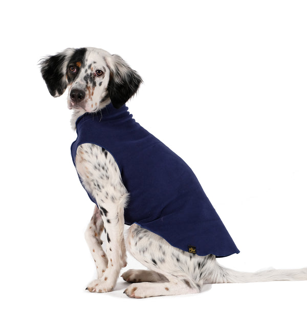NAVY GOLD PAW STRETCH PLAID DOG FLEECE, Sweaters - Bones Bizzness