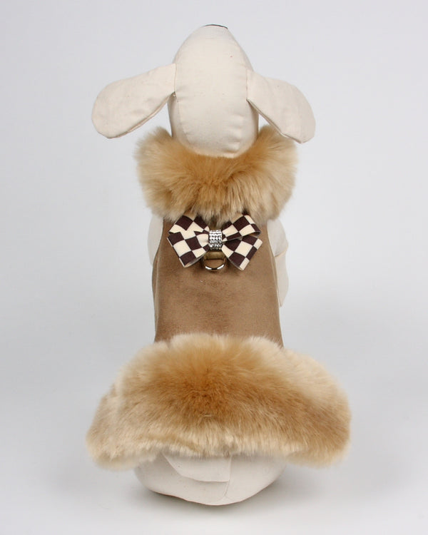 CHAMPAGNE FOX FUR W/WINDSOR CHECK BOW DOG JACKET, Coats - Bones Bizzness