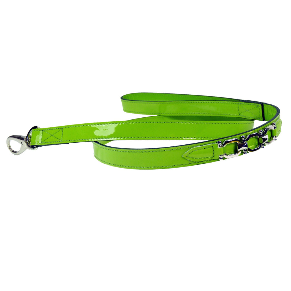 GEORGIA ROSE DOG LEAD IN BRIGHT GREEN PATENT & NICKEL, Leash - Bones Bizzness