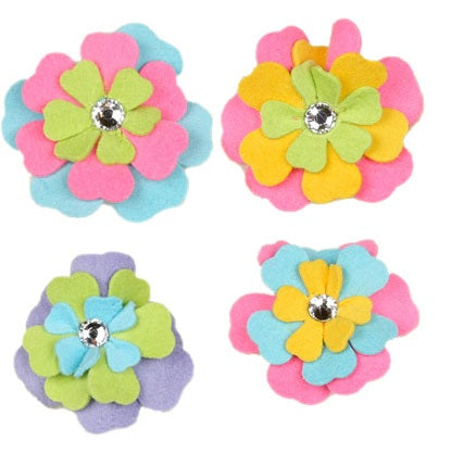 FANTASY FLOWER DOG HAIR BOWS - (4 COLORS), HAIR BOW - Bones Bizzness