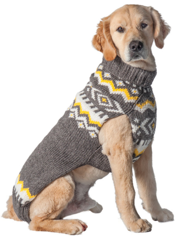 GREY NORDIC WOOL DOG SWEATER