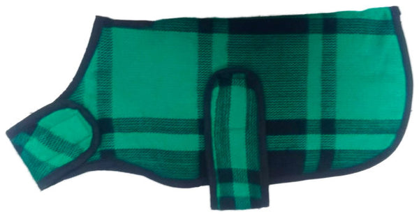 Green and Black Plaid dog Blanket Coat, Sweaters - Bones Bizzness