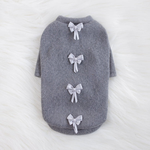 DAINTY BOW DOG SWEATER
