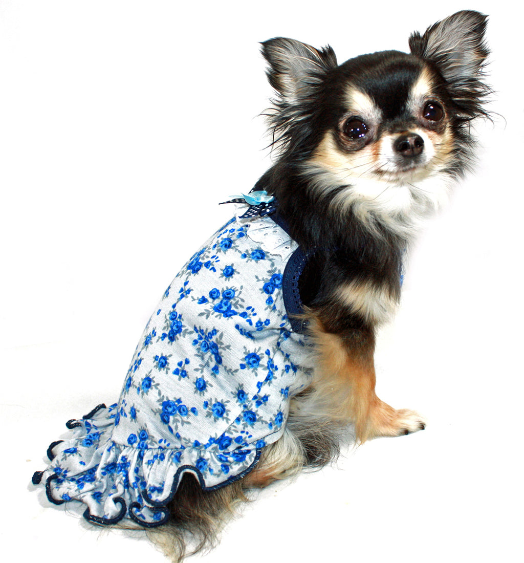 BLUE ROSE DOG DRESS