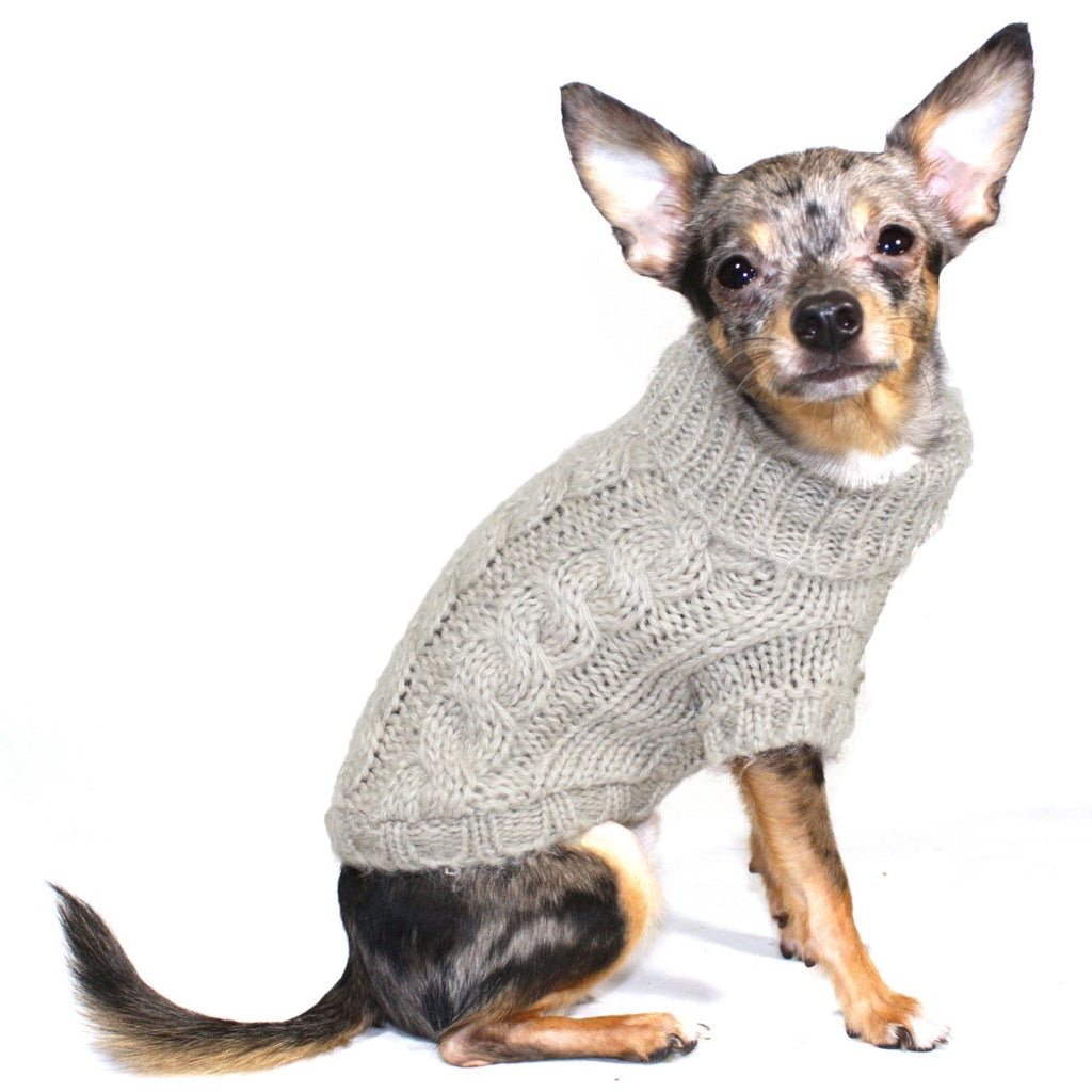 SAND ANGORA CABLE KNIT DOG SWEATER, Sweaters - Bones Bizzness
