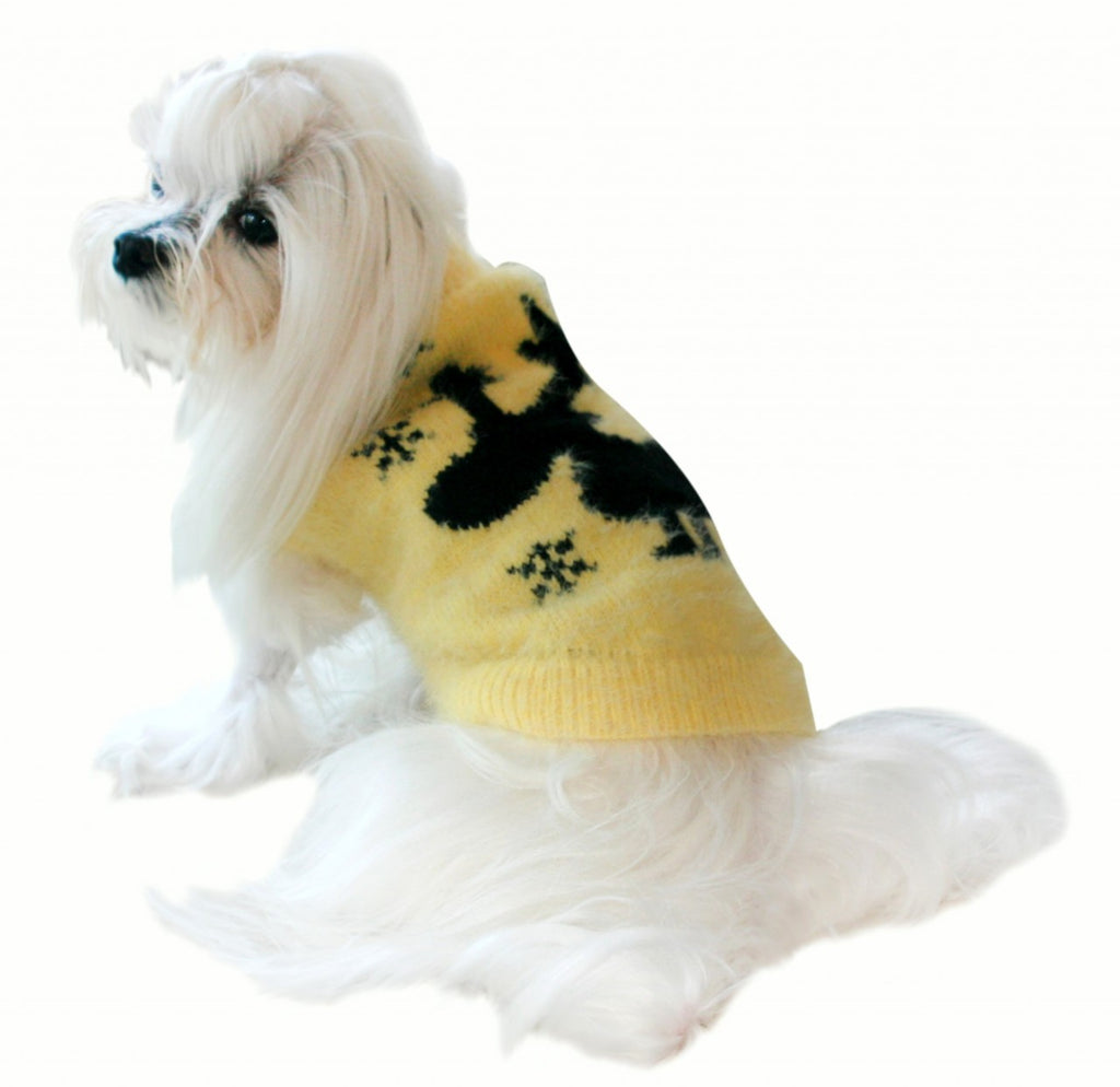 YELLOW FEATHER-SOFT MOOSE DOG SWEATER, Sweaters - Bones Bizzness