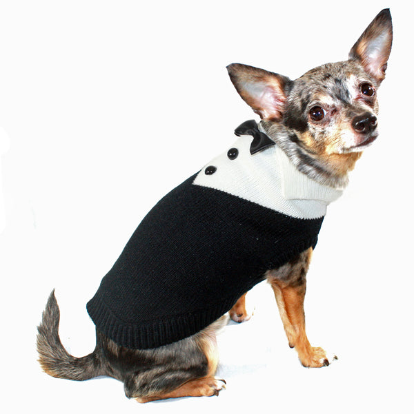 BLACK TUX DOG SWEATER, Sweaters - Bones Bizzness