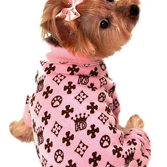 HD ROYAL CROWN DOG LONG JOHNS - PINK, PAJAMAS - Bones Bizzness