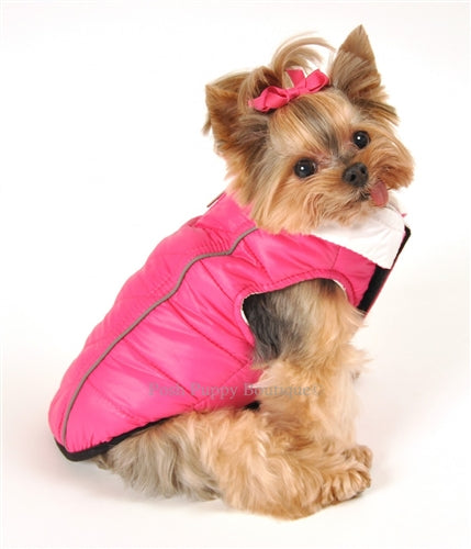 PINK/WHITE - FEATHERLITE REVERSIBLE REFLECTIVE PUFFER DOG VEST, Coats - Bones Bizzness