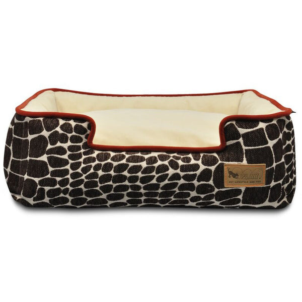 KALAHARI BROWN GIRAFFE/SANGRIA LOUNGE DOG BED, Beds - Bones Bizzness