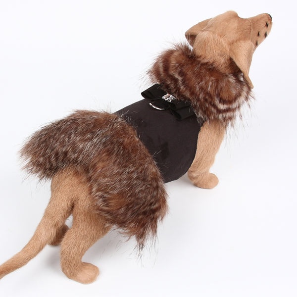 BLACK HIDDEN FOX WITH BIG BOW HARNESS DOG COAT, Coats - Bones Bizzness