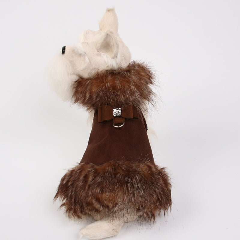 HIDDEN BIG BOW FOX FUR DOG COAT - CHOCOLATE, Coats - Bones Bizzness