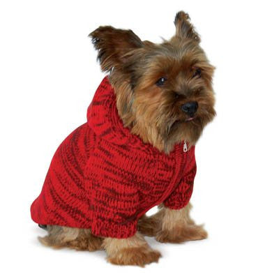 RED HOODIE SWEATER DOG COAT, Coats - Bones Bizzness