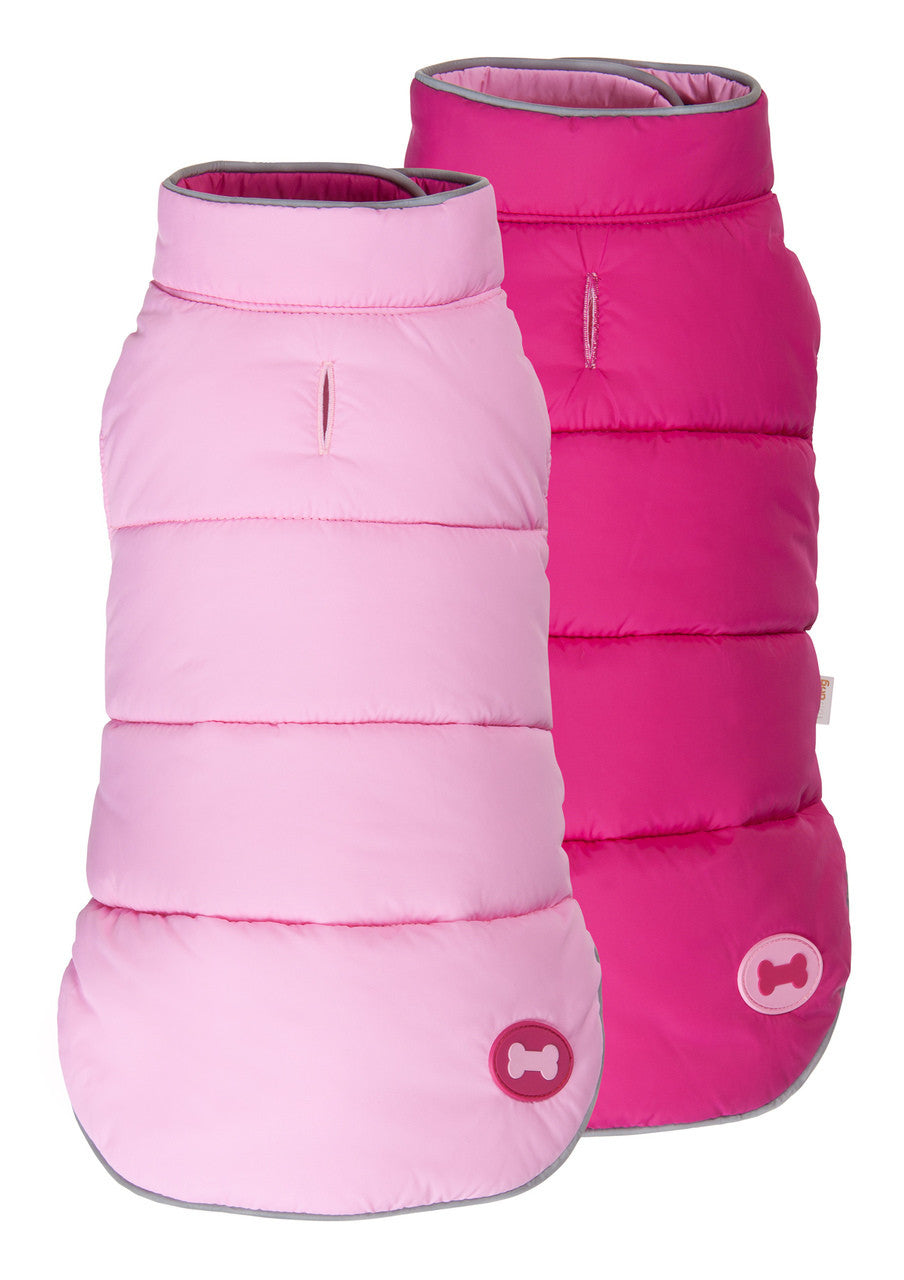 PINK/HOT PINK REVERSIBLE BONE PUFFER DOG COAT, Coats - Bones Bizzness
