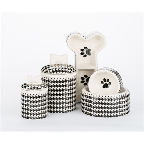 HOUNDSTOOTH HAND PAINTED DOG BOWLS AND TREAT JARS, Bowls - Bones Bizzness