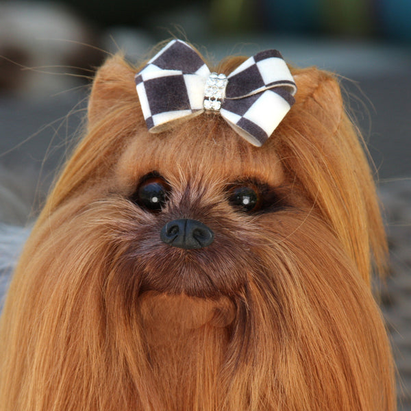 WINDSOR CHECK NOUVEAU BOW DOG HAIR BOW, HAIR BOW - Bones Bizzness