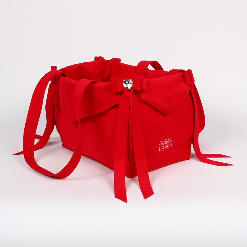 SUSAN LANCI RED TAIL BOW HEART PURSE/CARRIER, Carriers - Bones Bizzness