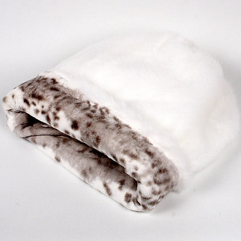 CUDDLE CUP DOG BED -WHITE WITH PLATINUM SNOW LEOPARD, Beds - Bones Bizzness