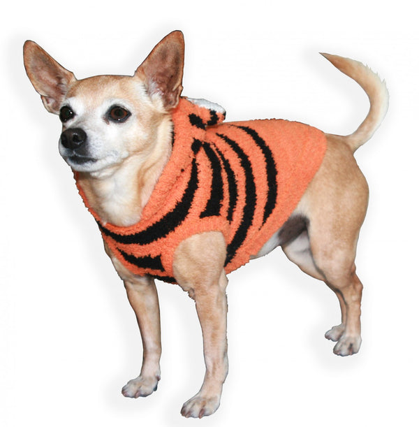CHENILLE TIGER DOG HOODIE, Sweaters - Bones Bizzness