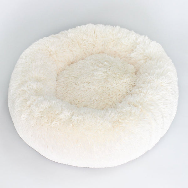 CREAM CUDDLE SHAG DOG BED, Beds - Bones Bizzness