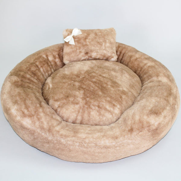 ROUND TEDDY BEAR DOG BED