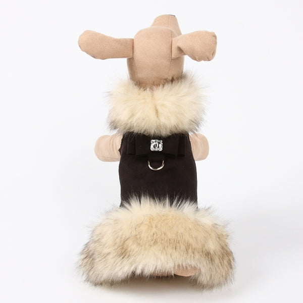 SUSAN LANCI BLACK IVORY FOX FUR DOG HARNESS COAT, Coats - Bones Bizzness